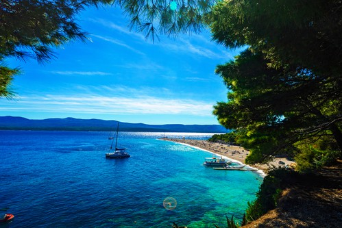 Beautiful beach Zlatni Rat or Golden Cape on island Brac in Croatia