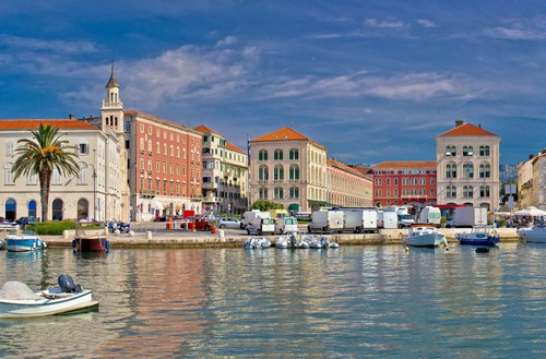 Split historic Peristil view from sea, Croatia