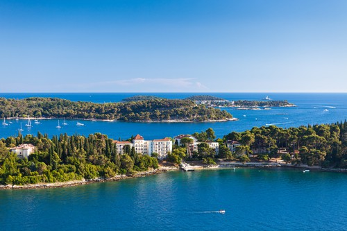 Croatia Islands and Adriatic Sea. Aerial View from Rovinj Belfry, Croatia
