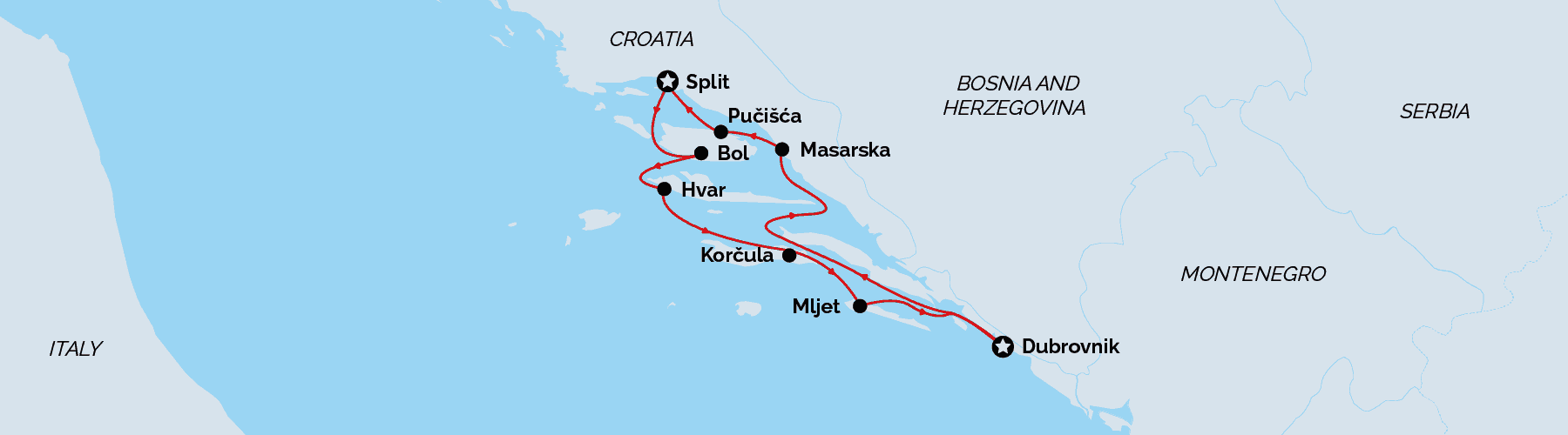 Cruise map Split return, luxury