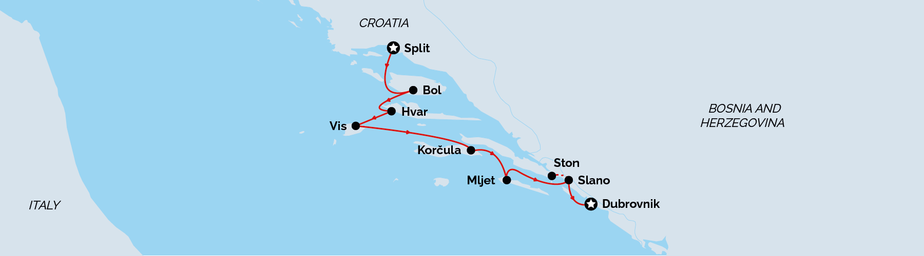 Split to Dubrovnik Deluxe Cruise Map