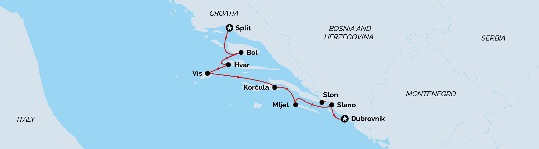 Cruise map, Split to Dubrovnik, Deluxe