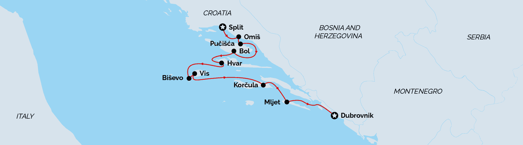Cruise map Split to Dubrovnik superior