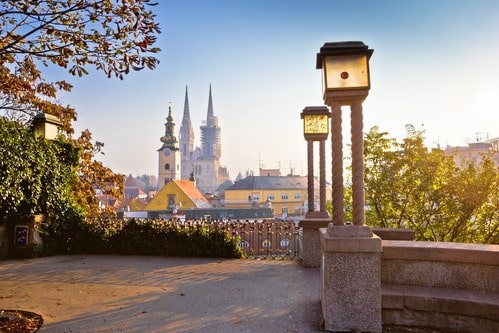Historic Zagreb towers sunrise view, Croatia