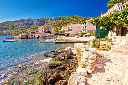 Komiza on Vis island coastline, Croatia