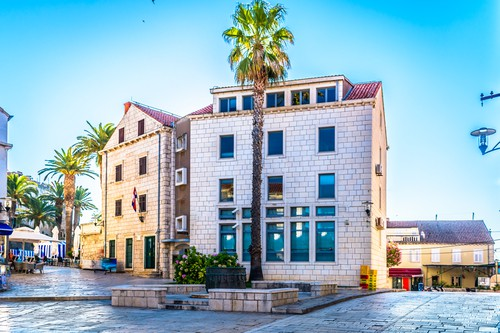 Korcula old square view