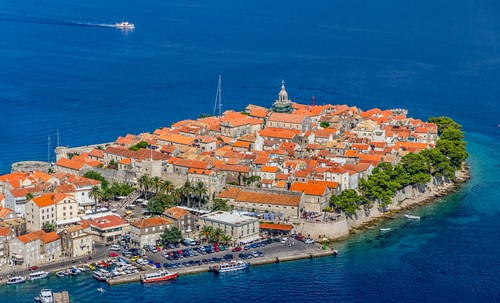 Korcula old town aerial photo, Croatia
