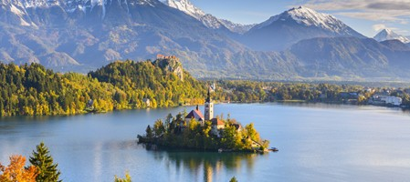 Panoramic view of Lake Bled in Slovenia