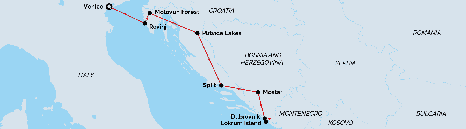 Route Map Venice & Croatia Private Tour