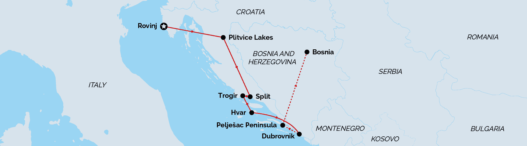 Route Map Croatian Highlights Wellness Escape