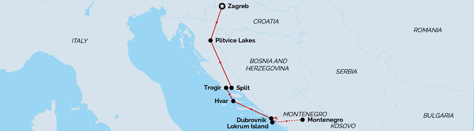 Route Map - Ultimate Croatia Family Vacation
