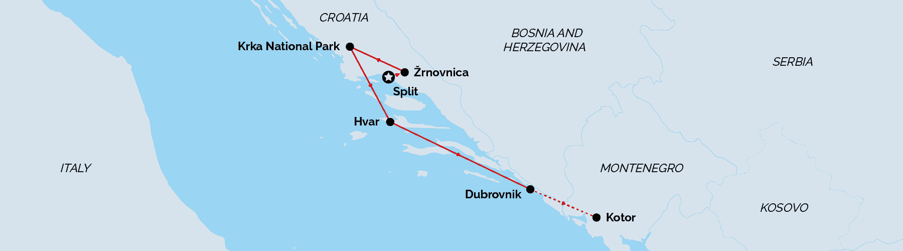 Route Map Games of Thrones Tour