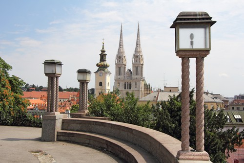 Panoramic Zagreb, View from the upper town to the Cathedral, Croatia
