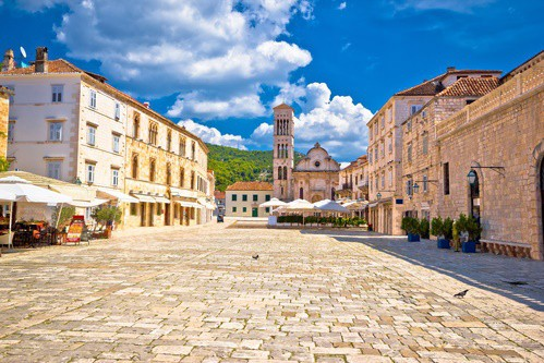 Pjaca square church, Hvar town, Croatia