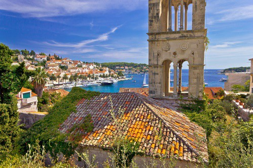 Hvar old harbor view, Dalmatia, Croatia