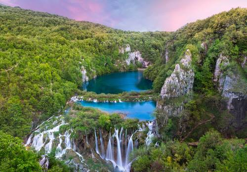Breathtaking sunset view in the Plitvice Lakes National Park