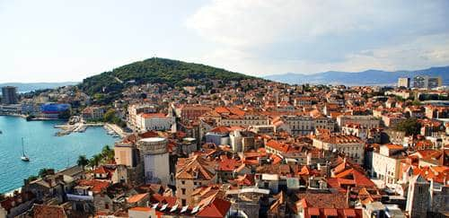 Postcard of city and Marjan Hill at Split - Croatia