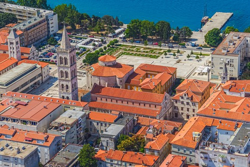 Aerial view of the old town with Cathedral and churches in Zadar, Croatia.