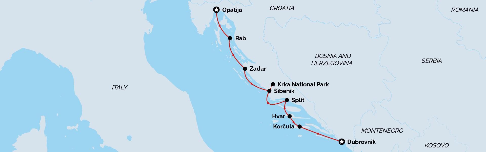 Opatija to Dubrovnik Signature Cruise