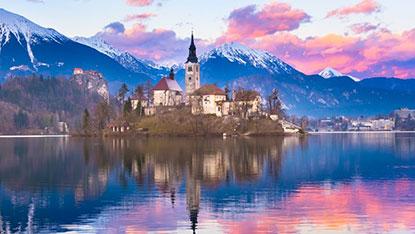 Lake Bled sunset, Slovenia sunset
