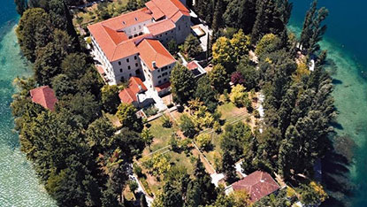 Monastery on island Visovac, Krka river canyon, Croatia