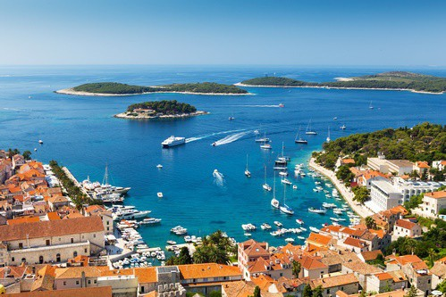 View overlooking harbor in Hvar Town, Croatia
