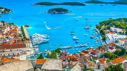 View of harbor on Hvar Island, Croatia