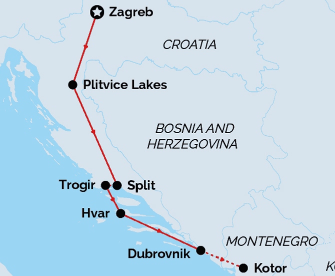 Highlights of Croatia Land Route Map