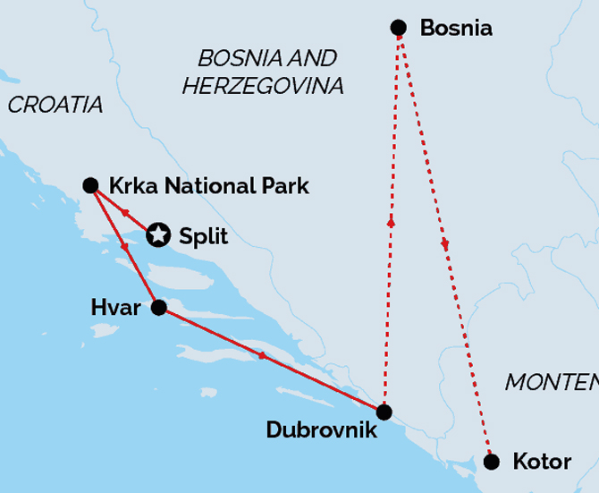 Dalmatian Coast Romance Land Route Map
