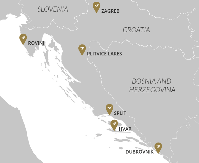 Highlights of Croatia Private Tour Map