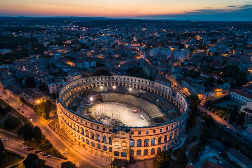 Aerial view of Roman Colosseum in Pula