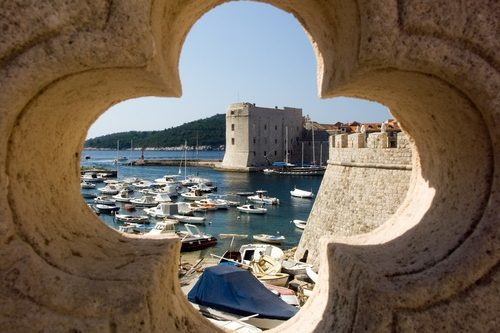 Dubrovnik port, view of fortress and the old town