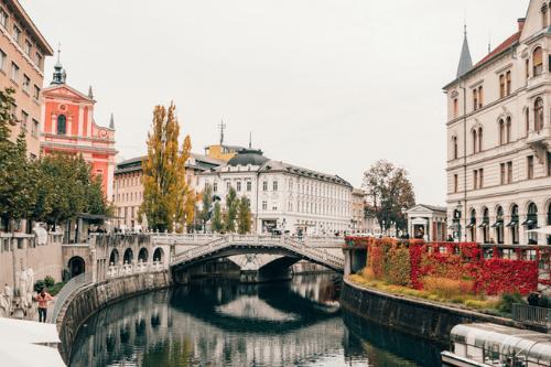 Tromostovje Arch bridge, Ljubljana, Slovenia