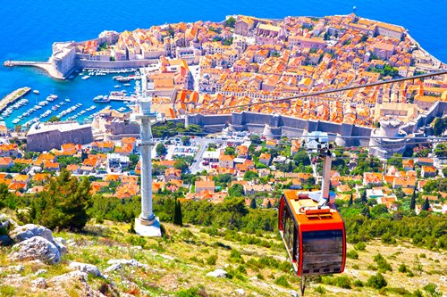 Old town of Dubrovnik from hill