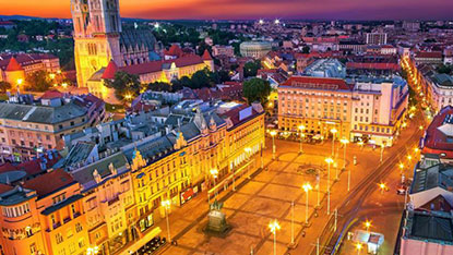 Zagreb Square at Night