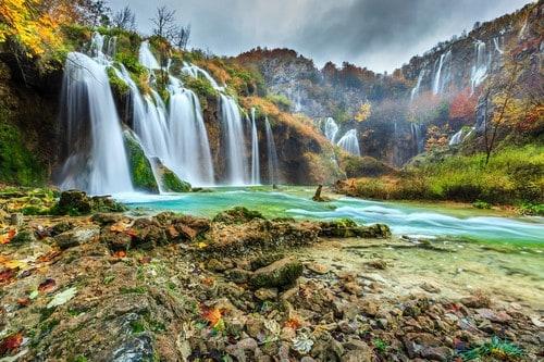 Waterfall at Plitvice Lakes, National Park, Croatia