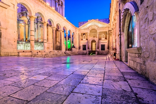 Old roman architecture in town Split