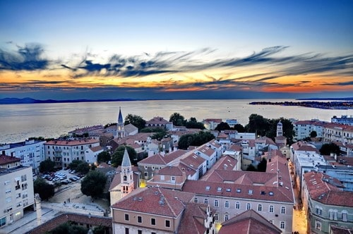Zadar Croatia from above at sunset