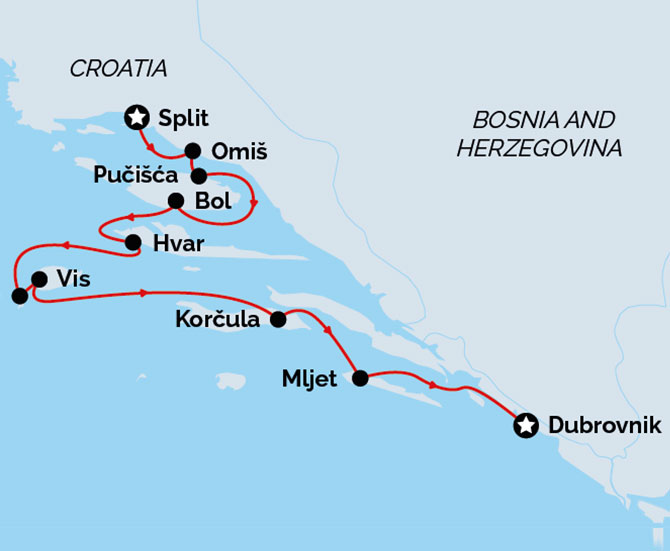 Superior Split to Dubrovnik Cruise Route Map
