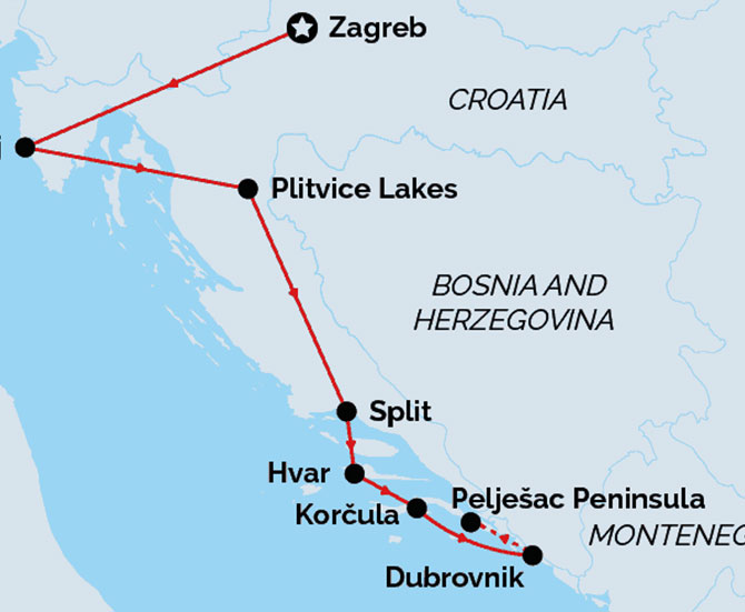 Taste of Croatia Route Map