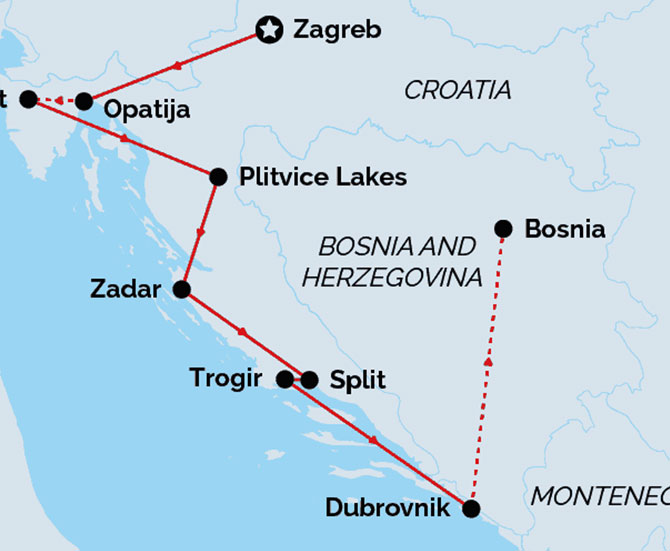 7 Night Croatia Food and Wine Discovery Tour map