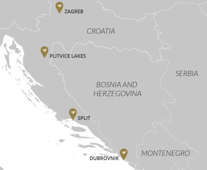 Croatia Lakes & Cities Map