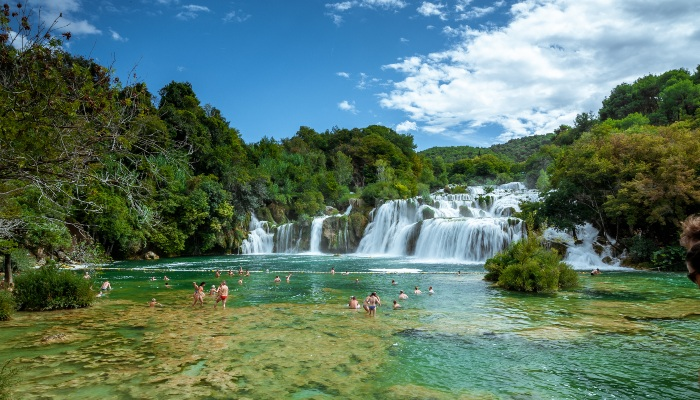 Swimmers in Krka National Park, Croatia