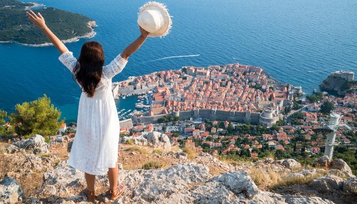Tourist overlooking Dubrovnik