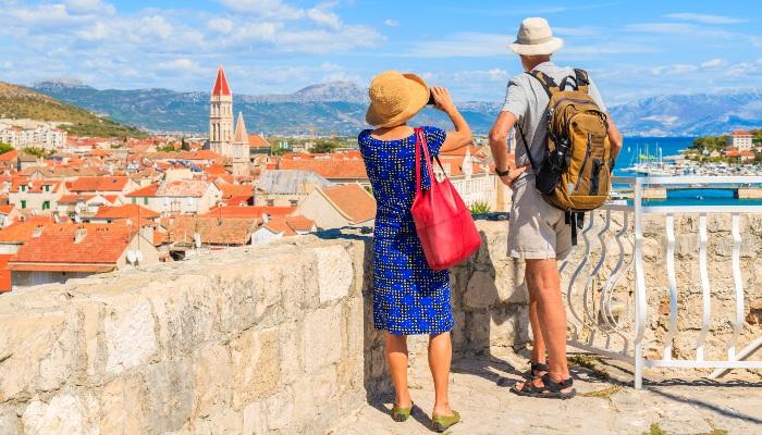 Tourists overlooking Trogir